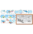 jigsaw puzzle game with airplanes in sky vector image vector image