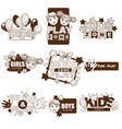 kids zone playground sketch icons vector image vector image