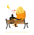 Lover french fries Fastfood and people are looking vector image vector image