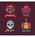 Mexico music skull and food elements vector image vector image