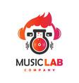 modern music laboratory logo design vector image vector image