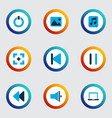 multimedia icons colored set with laptop pause vector image vector image