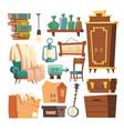 old retro furniture cartoon living room interior vector image vector image