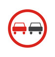 overtaking prohibited sign vector image vector image