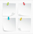 pinned paper sheets set vector image vector image