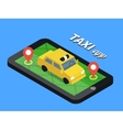 Public taxi online service mobile application vector image vector image