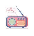 radio and playing music notes and waves icon vector image vector image
