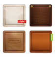 realistic genuine leather texture set vector image vector image
