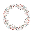 Round Christmas garland with decoration isolated vector image