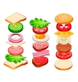Sandwich and Hamburger Ingredients Set vector image