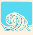 sea wave retro water wave background vector image vector image