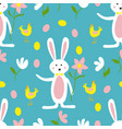 seamless pattern cute easter bunnies easter vector image vector image