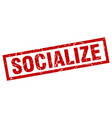 square grunge red socialize stamp vector image vector image
