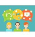 Students and Speech Bubbles and School Icons vector image vector image