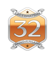 Thirty two years anniversary celebration silver vector image vector image