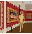 Tourist in picture gallery vector image vector image