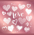 valentine hearts on rose gold background vector image