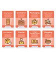 worldwide post delivery linear icons set vector image vector image