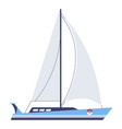 yacht with sails or boat nautical vessel vector image