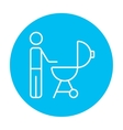 Man at barbecue grill line icon vector image