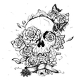 Skull and Flowers Day of The vector image