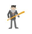 an angry guy with a bat vector image