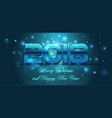 2018 happy new year card in blue color vector image