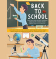 back to school poster student in geometry class vector image vector image