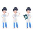 beautiful cartoon character medic set vector image vector image