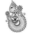 black line art ornate flower design ukrainian vector image vector image