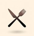 black silhouette icon - crossing cutlery fork vector image vector image