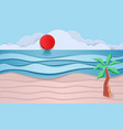 blue sea and beach paper waves with coconut and vector image