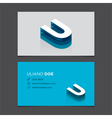 business card letter U vector image vector image