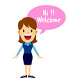 business woman welcoming guest with a smile vector image vector image