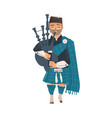 cartoon scottish bagpiper isolated vector image vector image