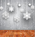 Christmas background of hanging snowflakes vector image vector image