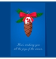 Christmas tree decoration pinecone greeting card vector image vector image