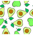collection fruit avocado pattern style vector image vector image