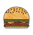 color crayon stripe cartoon big bread hamburger vector image vector image
