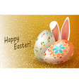 composition of golden hue with two easter eggs and vector image vector image