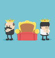 concept cartoon two businessmen vie for throne vector image vector image