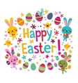 cute Happy Easter greeting card vector image vector image