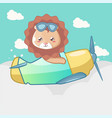 cute lion with a plane card for kids vector image vector image