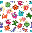 cute seamless colorful monster pattern vector image vector image