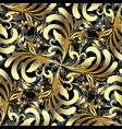 damask vintage gold 3d seamless pattern vector image vector image