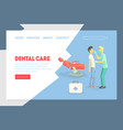 dental care landing page template dental clinic vector image