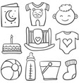 doodle of baby theme with toy cake vector image vector image