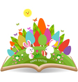 easter egg and bunny spring with grass garden in vector image vector image