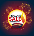 festival diwali sale banner with fireworks and vector image vector image
