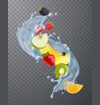 fruit water splash transparent vector image vector image